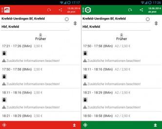 Screenshots der App von VRR/SWK nebeneinander.